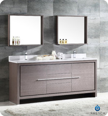 "FVN8172GO Fresca Allier 72"" Gray Oak Modern Double Sink Bathroom Vanity w/ Mirror"