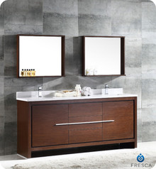 "FVN8172WG Fresca Allier 72"" Wenge Brown Modern Double Sink Bathroom Vanity w/ Mirror"
