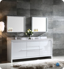 "FVN8172WH Fresca Allier 72"" White Modern Double Sink Bathroom Vanity w/ Mirror"