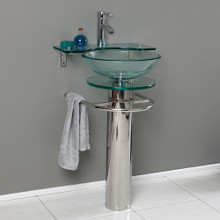 "Fresca  CMB1019-V Fresca Ovale 24"" Bathroom  Pedestal with Glass Countertop & Vessel Sink w/ Glass Shelf"