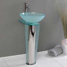 "Fresca  CMB1053-V Fresca Vitale 17"" Bathroom Pedestal with Glass Countertop & Vessel Sink"