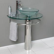 "Fresca  CMB1060-V Fresca Attrazione 28"" Bathroom Pedestal with Glass Countertop & Vessel Sink & Towel Bar"