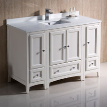 "Fresca  FCB20-122412AW-CWH-U Fresca Oxford 48"" Antique White Traditional Bathroom Cabinets w/ Top & Sink"