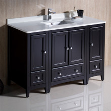 "Fresca  FCB20-122412ES-CWH-U Fresca Oxford 48"" Espresso Traditional Bathroom Cabinets w/ Top & Sink"
