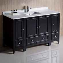 "Fresca  FCB20-123012ES-CWH-U Fresca Oxford 54"" Espresso Traditional Bathroom Cabinets w/ Top & Sink"