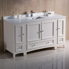 "Fresca  FCB20-123612AW-CWH-U Oxford 60"" Antique White Traditional Bathroom Cabinets w/ Top & Sink"