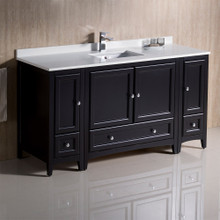 "Fresca  FCB20-123612ES-CWH-U Oxford 60"" Espresso Traditional Bathroom Cabinets w/ Top & Sink"