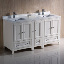 "Fresca  FCB20-241224AW-CWH-U Oxford 60"" Antique White Traditional Double Sink Bathroom Cabinets w/ Top & Sinks"