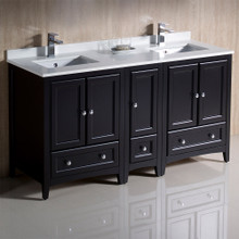"Fresca  FCB20-241224ES-CWH-U Oxford 60"" Espresso Traditional Double Sink Bathroom Cabinets w/ Top & Sinks"