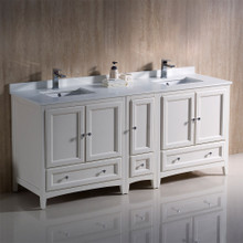 "Fresca  FCB20-301230AW-CWH-U Oxford 72"" Antique White Traditional Double Sink Bathroom Cabinets w/ Top & Sinks"