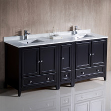 "Fresca  FCB20-301230ES-CWH-U Oxford 72"" Espresso Traditional Double Sink Bathroom Cabinets w/ Top & Sinks"
