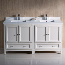 "Fresca  FCB20-3030AW-CWH-U Oxford 60"" Antique White Traditional Double Sink Bathroom Cabinets w/ Top & Sinks"