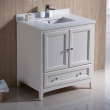 "Fresca  FCB2030AW-CWH-U Oxford 30"" Antique White Traditional Bathroom Cabinet w/ Top & Sink"