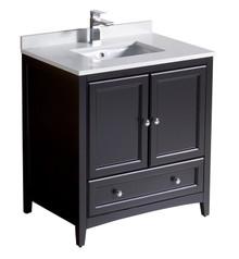 """FCB2030ES-CWH-U Oxford 30"""" Espresso Traditional Bathroom Cabinet w/ Top & Sink"""