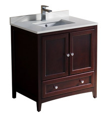 "FCB2030MH-CWH-U Oxford 30"" Mahogany Traditional Bathroom Cabinet w/ Top & Sink"