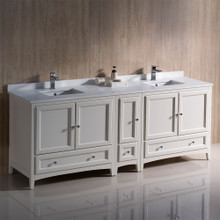 "Fresca  FCB20-361236AW-CWH-U Oxford 84"" Antique White Traditional Double Sink Bathroom Cabinets w/ Top & Sinks"