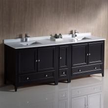 """Fresca  FCB20-361236ES-CWH-U Oxford 84"""" Espresso Traditional Double Sink Bathroom Cabinets w/ Top & Sinks"""