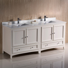 "Fresca  FCB20-3636AW-CWH-U Oxford 72"" Antique White Traditional Double Sink Bathroom Cabinets w/ Top & Sinks"