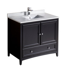 "FCB2036ES-CWH-U Oxford 36"" Espresso Traditional Bathroom Cabinet w/ Top & Sink"