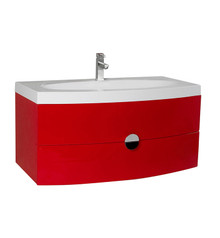"FCB5092RD-I Fresca Energia 36"" Red Wall Mount Bathroom Cabinet w/ Integrated Sink"