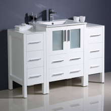 "Fresca  FCB62-122412WH-I Fresca Torino 48"" White Modern Bathroom Cabinets w/ Integrated Sink"