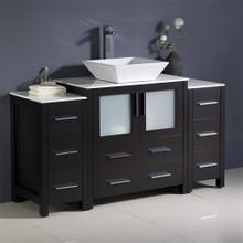 """Fresca  FCB62-123012ES-CWH-V Fresca Torino 54"""" Espresso Modern Bathroom Cabinets w/ Top & Vessel Sink"""