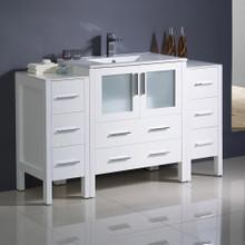 "Fresca  FCB62-123012WH-I Fresca Torino 54"" White Modern Bathroom Cabinets w/ Integrated Sink"