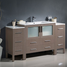 "Fresca  FCB62-123612GO-I Fresca Torino 60"" Gray Oak Modern Bathroom Cabinets w/ Integrated Sink"