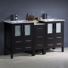 "Fresca  FCB62-241224ES-I Fresca Torino 60"" Espresso Modern Double Sink Bathroom Cabinets w/ Integrated Sinks"
