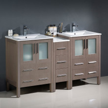 "Fresca  FCB62-241224GO-I Fresca Torino 60"" Gray Oak Modern Double Sink Bathroom Cabinets w/ Integrated Sinks"