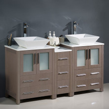 "Fresca  FCB62-241224GO-CWH-V Fresca Torino 60"" Gray Oak Modern Double Sink Bathroom Cabinets w/ Tops & Vessel Sinks"