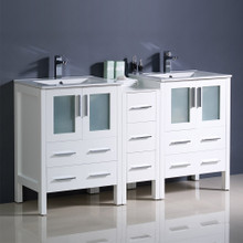 "Fresca  FCB62-241224WH-I Fresca Torino 60"" White Modern Double Sink Bathroom Cabinets w/ Integrated Sinks"