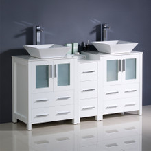 "Fresca  FCB62-241224WH-CWH-V Fresca Torino 60"" White Modern Double Sink Bathroom Cabinets w/ Tops & Vessel Sinks"