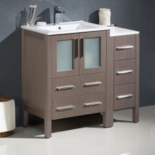 "Fresca  FCB62-2412GO-I Fresca Torino 36"" Gray Oak Modern Bathroom Cabinets w/ Integrated Sinks"
