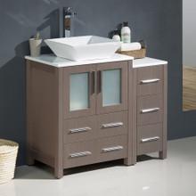 """Fresca  FCB62-2412GO-CWH-V Fresca Torino 36"""" Gray Oak Modern Bathroom Cabinets w/ Top & Vessel Sink"""