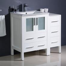 "Fresca  FCB62-2412WH-I Fresca Torino 36"" White Modern Bathroom Cabinets w/ Integrated Sink"