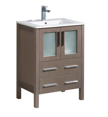 "FCB6224GO-I Fresca Torino 24"" Gray Oak Modern Bathroom Cabinet w/ Integrated Sink"