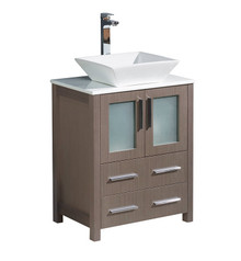 "FCB6224GO-CWH-V Fresca Torino 24"" Gray Oak Modern Bathroom Cabinet w/ Top & Vessel Sink"