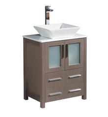 "FCB6224GO-CWH-V Fresca Torino 24"" Gray Oak Modern Bathroom Cabinet w/ Top & Vessel Sink"