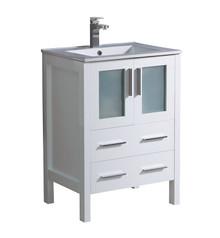 "FCB6224WH-I Fresca Torino 24"" White Modern Bathroom Cabinet w/ Top & Integrated Sink"