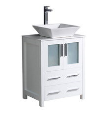 "FCB6224WH-CWH-V Fresca Torino 24"" White Modern Bathroom Cabinet w/ Top & Vessel Sink"