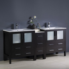 "Fresca  FCB62-301230ES-I Fresca Torino 72"" Espresso Modern Double Sink Bathroom Cabinets w/ Integrated Sinks"