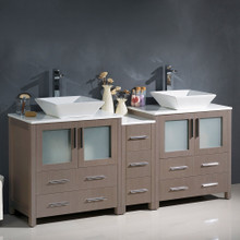"Fresca  FCB62-301230GO-CWH-V Fresca Torino 72"" Gray Oak Modern Double Sink Bathroom Cabinets w/ Tops & Vessel Sinks"