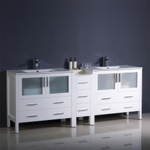 "Fresca  FCB62-301230WH-I Fresca Torino 72"" White Modern Double Sink Bathroom Cabinets w/ Integrated Sinks"