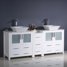 "Fresca  FCB62-301230WH-CWH-V Fresca Torino 72"" White Modern Double Sink Bathroom Cabinets w/ Tops & Vessel Sinks"