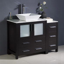 """Fresca  FCB62-3012ES-CWH-V Fresca Torino 42"""" Espresso Modern Bathroom Cabinets w/ Top & Vessel Sink"""