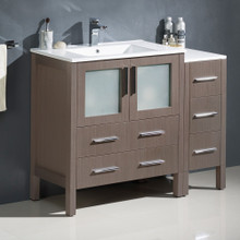 "Fresca  FCB62-3012GO-I Fresca Torino 42"" Gray Oak Modern Bathroom Cabinets w/ Integrated Sink"