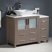 """Fresca  FCB62-3012GO-CWH-V Fresca Torino 42"""" Gray Oak Modern Bathroom Cabinets w/ Top & Vessel Sink"""