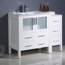 "Fresca  FCB62-3012WH-I Fresca Torino 42"" White Modern Bathroom Cabinets w/ Tops & Integrated Sink"