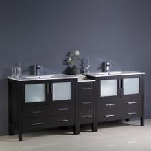 """Fresca  FCB62-361236ES-I Fresca Torino 84"""" Espresso Modern Double Sink Bathroom Cabinets w/ Integrated Sinks"""